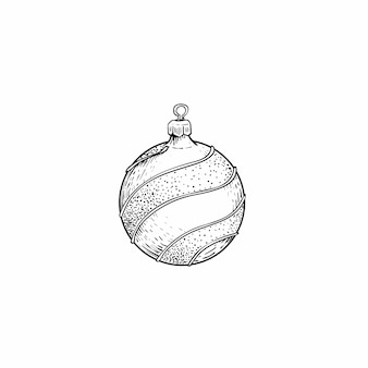 Hand drawn sketch style christmas decoration ball with glitter. design element for