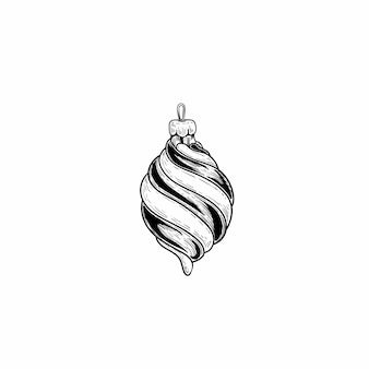 Hand drawn sketch style christmas decoration glass ball.
