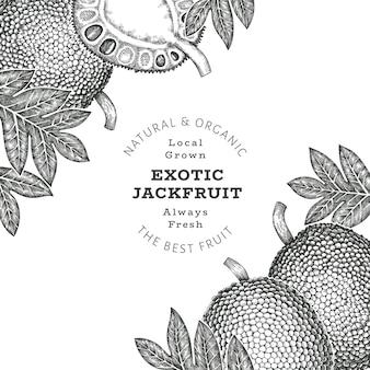 Hand drawn sketch style jackfruit background. organic fresh fruit. retro breadfruit