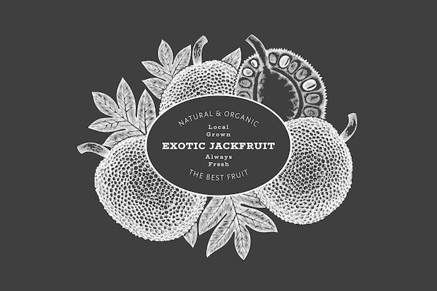 손으로 그린 스케치 스타일 jackfruit 배너입니다. 분필 보드에 유기농 신선한 과일 벡터 일러스트입니다. 복고풍 빵나무 열매 디자인 서식 파일