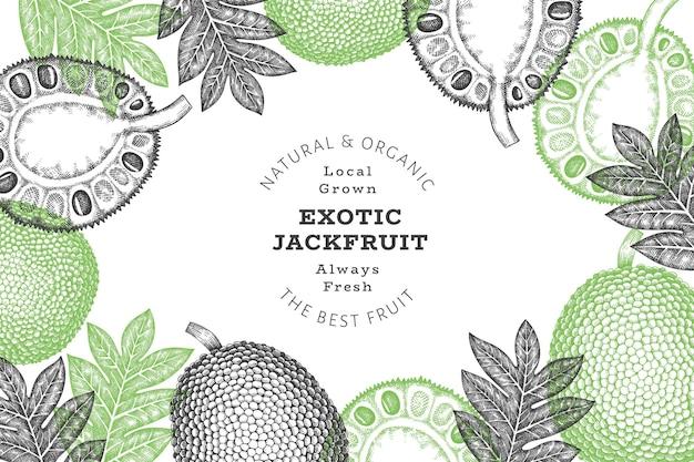 손으로 그린 스케치 스타일 jackfruit 배너입니다. 유기농 신선한 과일 벡터 일러스트 레이 션. 복고풍 빵나무 열매 디자인 서식 파일