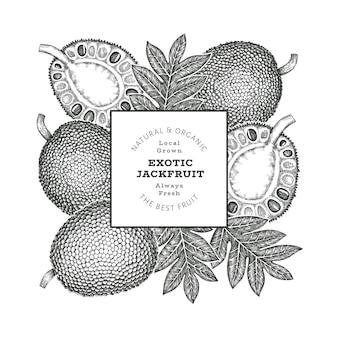 손으로 그린 스케치 스타일 jackfruit 배너