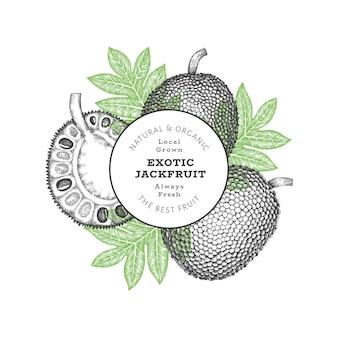 손으로 그린 스케치 스타일 jackfruit. 신선한 과일 그림입니다.