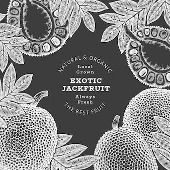 손으로 그린 된 스케치 스타일 jackfruit 레이블 템플릿