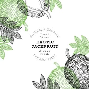 Hand drawn sketch style jackfruit label template