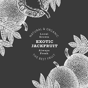 손으로 그린 스케치 스타일 jackfruit입니다. 분필 보드에 유기농 신선한 과일 그림입니다. 복고풍 빵나무 열매 디자인 서식 파일