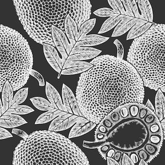 손으로 그린된 스케치 스타일 jackfruit 완벽 한 패턴입니다. 분필 보드에 유기농 신선한 과일 벡터 일러스트입니다. 레트로 빵나무 배경