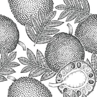 손으로 그린된 스케치 스타일 jackfruit 원활한 패턴