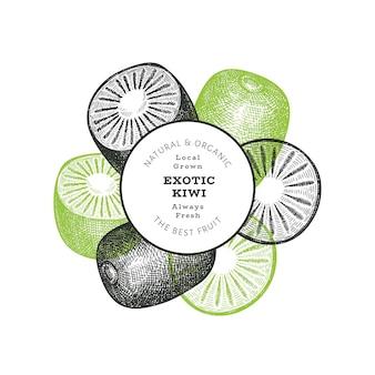 Ручной обращается эскиз стиля киви баннер. иллюстрация органических свежих фруктов. ретро киви шаблон
