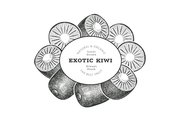 Hand drawn sketch style kiwi label. organic fresh fruit. retro kiwi fruit