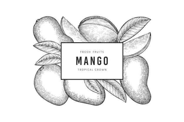 Hand drawn sketch style mango label. organic fresh fruit. retro mango fruit