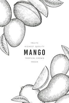 Hand drawn sketch style mango label template