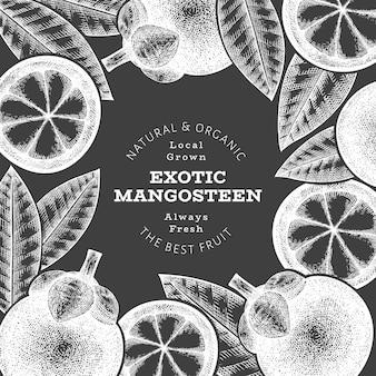 手描きのスケッチスタイルのマンゴスチンデザインテンプレート。チョークボード上の有機生鮮食品のイラスト。
