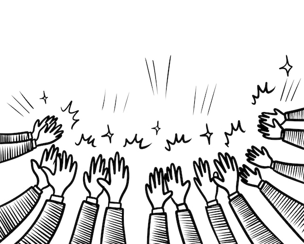 손으로 그린 스케치 스타일의 박수, 엄지손가락 제스처. 인간의 손에 박수 박수입니다. 낙서 스타일, 벡터 일러스트 레이 션에.