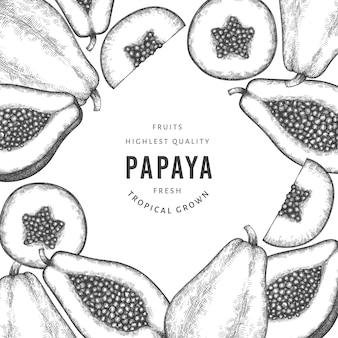 手描きスケッチスタイルのパパイヤバナー。有機の新鮮な果物のイラスト。レトロなフルーツテンプレート