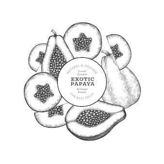 手描きスケッチスタイルのパパイヤ。有機の新鮮な果物のイラスト。レトロなフルーツのデザインテンプレート