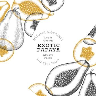손으로 그린 스케치 스타일 파파야. 유기농 신선한 과일 그림입니다. 레트로 과일 디자인 서식 파일