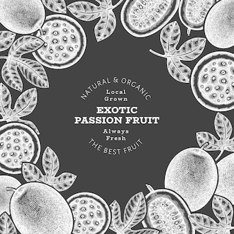 手描きのスケッチスタイルのパッションフルーツのバナー。チョークボード上の有機の新鮮な果物のイラスト。