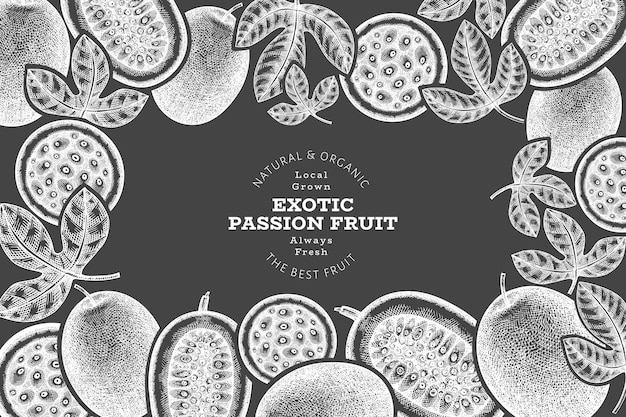 Hand drawn sketch style passion fruit banner. Premium Vector