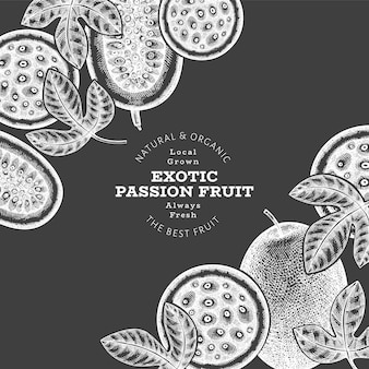 Hand drawn sketch style passion fruit banner Premium Vector