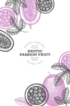 Hand drawn sketch style passion fruit banner