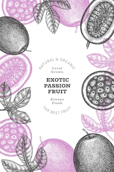 Hand drawn sketch style passion fruit. fresh fruit illustration.