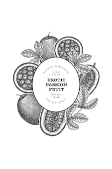 Hand drawn sketch style passion fruit. organic fresh fruit illustration. retro exotic fruit design template