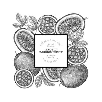 Ручной обращается эскиз стиля маракуйи. иллюстрация органических свежих фруктов. шаблон оформления ретро экзотических фруктов