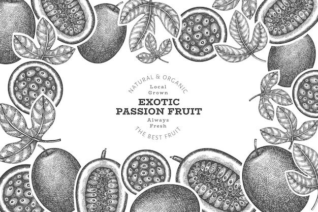 Hand drawn sketch style passion fruit . organic fresh fruit  illustration. retro exotic fruit  template