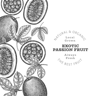 Hand drawn sketch style passion fruit