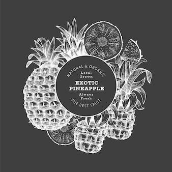 Hand drawn sketch style pineapple background. organic fresh fruit on chalk board. botanical.