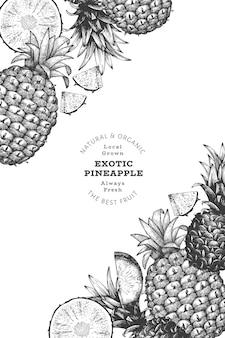 Hand drawn sketch style pineapple background. organic fresh fruit. engraved style botanical.