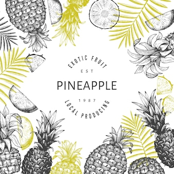 Hand drawn sketch style pineapple banner. organic fresh fruit  illustration. engraved style botanical  template.