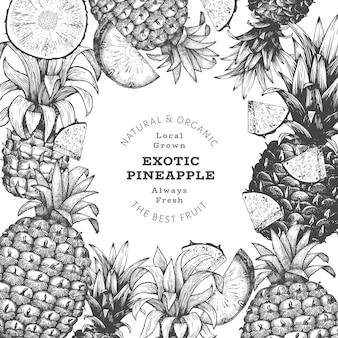 手描きのスケッチスタイルのパイナップルバナー。有機の新鮮な果物のイラスト。刻まれたスタイルの植物のテンプレート。