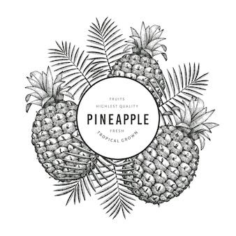 手描きのスケッチスタイルのパイナップルバナー。白い背景の上の有機の新鮮な果物のイラスト。刻まれたスタイルの植物のテンプレート。
