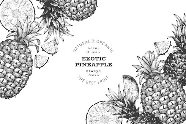 손으로 그린 스케치 스타일 파인애플 배너입니다. 유기농 신선한 과일 벡터 일러스트 레이 션. 새겨진 스타일 식물 디자인 템플릿입니다.