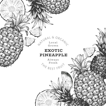 Hand drawn sketch style pineapple banner