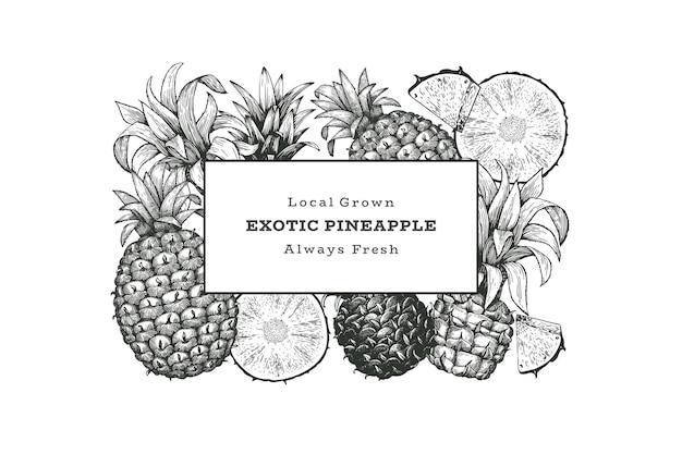 Hand drawn sketch style pineapple . organic fresh fruit illustration. engraved style botanical design template.