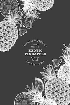 手描きのスケッチスタイルのパイナップル。チョークボード上の有機の新鮮な果物のイラスト。植物のデザインテンプレート。