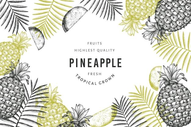 手描きスケッチスタイルパイナップル。白い背景の上の有機の新鮮な果物のイラスト。刻まれたスタイルの植物のテンプレート。