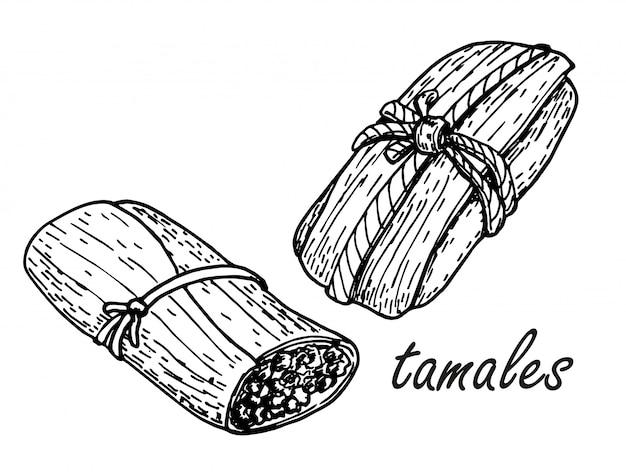 手描きのスケッチスタイルの伝統的なメキシコ料理タマーレ。手描きのスケッチ図。レトロなクラフトメキシコ料理のベクトル図です。レストランメニュー、チラシ、バナー。