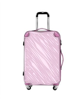 Hand drawn sketch of suitcase in pink color isolated. detailed vintage style drawing. vector illustration
