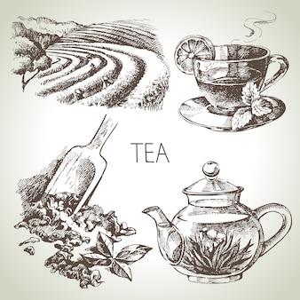 Ручной обращается эскиз чайный сервиз