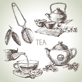 Hand drawn sketch tea set