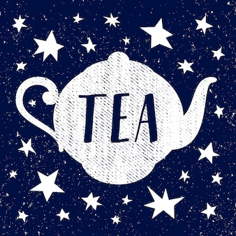 Hand drawn sketch of teapot with star. vector illustration
