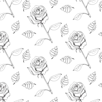 Hand drawn sketch technique roses seamless vector pattern.
