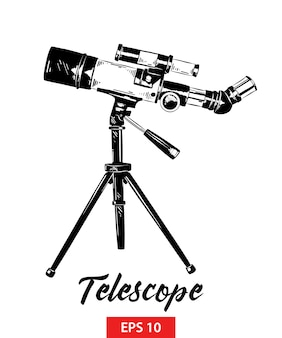 Hand drawn sketch of telescope in black