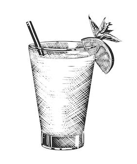Hand drawn sketch of tequila shot cocktail