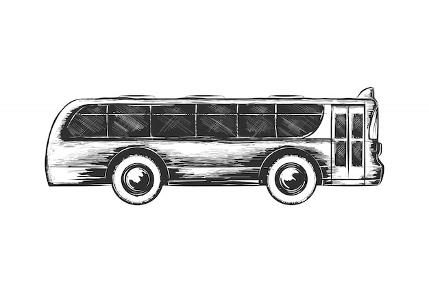 Hand drawn sketch of tourist bus in monochrome