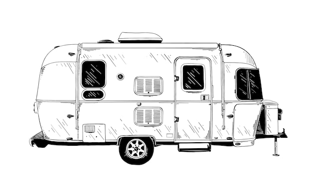 Hand drawn sketch of trailer in black